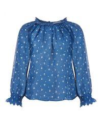 Leon & Harper Blue Carmen Frill Shirt