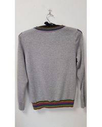 Cocoa Cashmere Gray Rainbow Trim Sweater