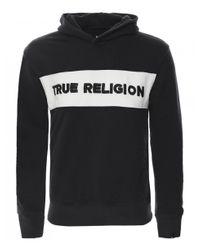 True Religion Black Embroidered Logo Hoodie for men
