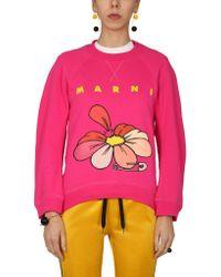 Marni Pink Sweatshirt With Flower Print