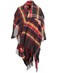 Vivienne Westwood Red Womens Check Poncho