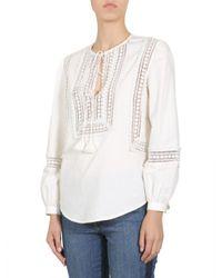 "Tory Burch White ""marissa"" Shirt With Crochet Lace Detail"