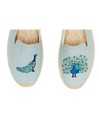 Soludos Blue Peacock Embroidered Smoking Slipper