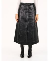 Ganni Long Leather Skirt Black