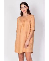 Haris Cotton Orange Linen-blend Mini Dress With Ruffles - Terra/black