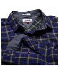 Tommy Hilfiger White Tommy Jeans Mens Heather Check Shirt for men