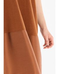 Paisie Relaxed Fit Knitted V-neck Dress In Brown