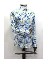 Remus Uomo White With Blue & Yellow Floral Pattern Shirt for men