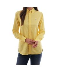 Polo Ralph Lauren Yellow Relaxed Fit Ls Shirt With Polo Emb
