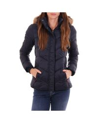 Barbour Blue Downhall Quilted Jacket With Hood