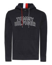 Tommy Hilfiger Black Cotton Logo Hoodie for men