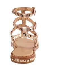 Ash Metallic Poison Studded Sandals Rose Gold Leather & Gold Studs Sandals