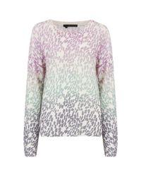 360cashmere White 360 Sweater Izzy Cashmere Leopard Sweater - Mallow & Seafoam