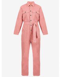 American Vintage Pink Tineborow Denim Jumpsuit
