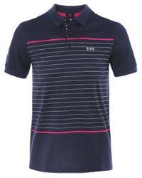BOSS by Hugo Boss Blue Slim Fit Jersey Paule 8 Polo Shirt Colour: Navy for men