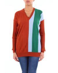 Plan C Red Multicolor V-neck Sweater