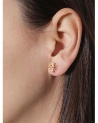 Tory Burch Pink Logo Stud Earrings