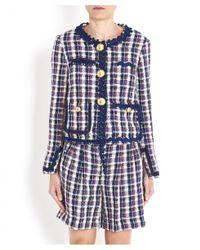 Erika Cavallini Semi Couture Hatty Tartan Blazer In Blue