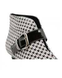 Marc Ellis White 45mm Ankle Boots With Patent Leather Strap