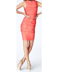Nicole Miller Pink Coral Ruched Shift Dress