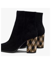 Lola Cruz Black Centauro Crystal-embellished Suede Ankle Boots