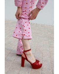Atterley Metallic Brigitte Platform Red Sandals