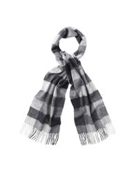 Barbour - Gray Large Tattersall Scarf Charcoal for Men - Lyst