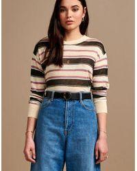 Bellerose Senia Linen T Shirt - Striped Ecru/black