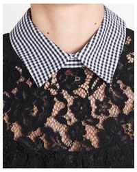 I'm Isola Marras - Lace And Check Print Dress In Black - Lyst