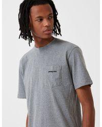 Patagonia Gray P-6 Logo Pocket Responsibili-tee T-shirt - Gravel Heather Grey for men