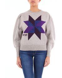 Étoile Isabel Marant Patterned Gray Crew Neck Sweater