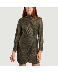 IRO Metallic Rasile Long Sleeves Dress Black Gold Paris