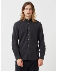 Portuguese Flannel Gray Teca Shirt - Charcoal Grey for men