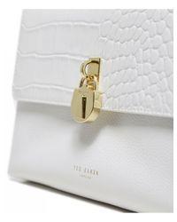 Ted Baker Macciie Croc Print Leather Cross Body Bag Colour: White
