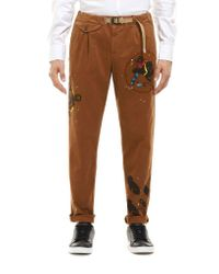 White Sand Brown Pants With Elastic Waist Strap And Pockets for men