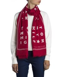 Tommy Hilfiger - Red Women's Logo Story Scarf - Lyst