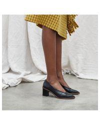 Miista Bernadette Black Croc Leather Mid-heels