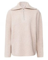 Vince Natural Half Zip Wool-cashmere Jumper Colour: Beige