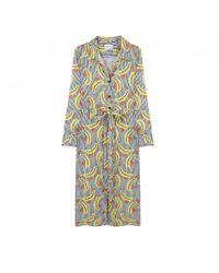 Compañía Fantástica Multicolor Striped Banana Print Shirt Dress