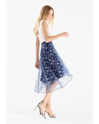b388d2131a Lyst - Paisie Midi Skirt With Embroidered Floral Tulle Overlay & Dip ...