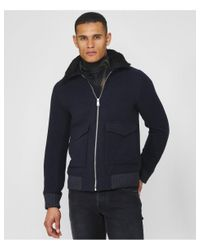 Les Deux Blue Wool Blend Planchett Bomber Jacket for men