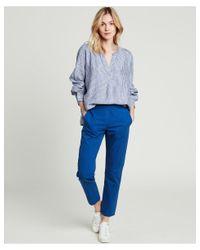 Hartford Blue Canyon Striped Linen Shirt