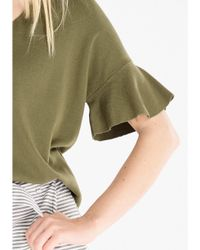 Paisie Green Knitted V-neck Top With Flared Sleeves