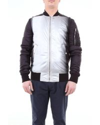 Rick Owens Black Bicolor Bomber Jacket With Central Zip for men