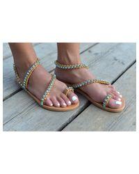 Atterley - Brown Sandals 3 Strap Blue Crystals - Lyst