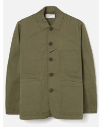 Universal Works Green Bakers Jacket In Light Olive Twill