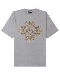 Versace Jeans Gray Gold Logo T-shirt for men