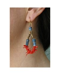 Spectrum | Blue Beaded Coral Loop Earrings | Lyst