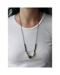 Spectrum | Gray Wood & Stone Necklace | Lyst