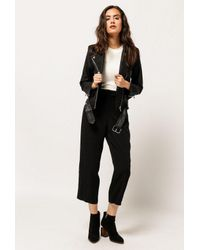 Azalea - Black Vegan Leather Moto Jacket - Lyst